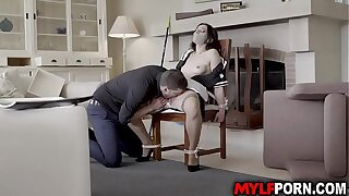 Classy MILF Valentina Bianco looks stunning in her French maid outfit and her boss tied her up before licking her sweet cunt then started a hot sex.