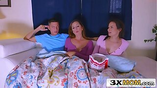 Latina MILF Joins Her Stepdaughter Alexis Deen and Her BF for a Movie Night Sex