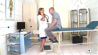 Blonde bombshell Katerina Hartlova is a busty nurse that gets titty fucked