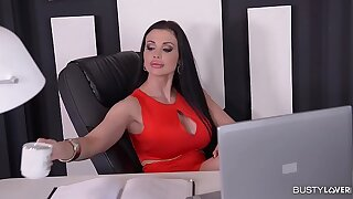 Busty Secretary Aletta Ocean gets Titty Fucked and creamed