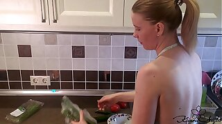 Housewife Sensual Play Pussy during Cooking Dinner - Amateur