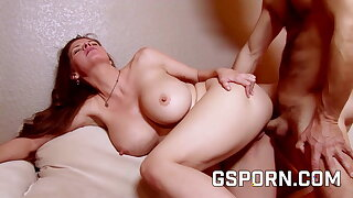 The pussy of busty June Summer filled with creampie