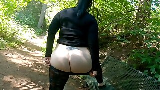 Sheer Leggings Nature Walk With Fat Booty Flashing