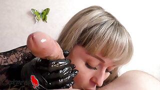 Black gloves bring my cock to orgasm