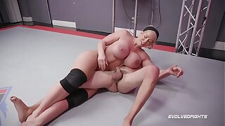 Alura Jenson dominates in mixed nude wrestling kicking loser in the balls