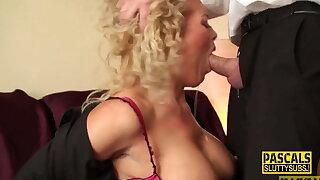 Real busty milf sub sucks cock