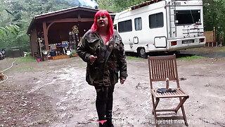 Vends-ta-culotte - French MILF Dominatrix in Forest Battle Dress