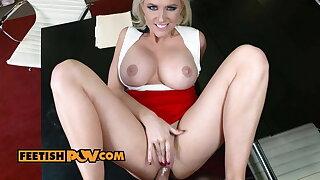 Curvy boss Alena Croft fucked in the office – fetish POV