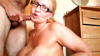 Big tit milf sucks the cock and takes the cum