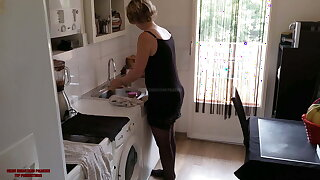 No taboo, sexy milf cougar over 40 fucks with stepson
