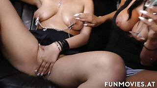 Awesome lesbians having fun in limousine