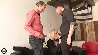 Mature mom takes old and young cocks with fisting and anal