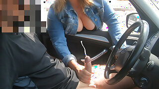 Busty MILF helps me out in the parking lot! Public Handjob!