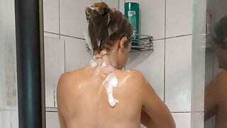 Hot German with sweet breasts in the shower!
