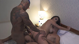 Brazilian PAWG filled by two cocks