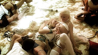 Roman soldier studs get to fuck a group of lusty half naked women